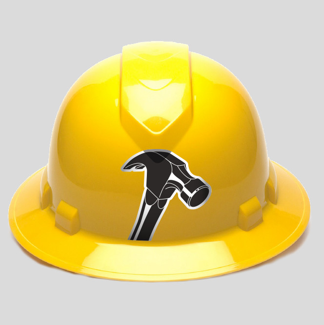 A yellow construction hard had with a hammer logo on the front