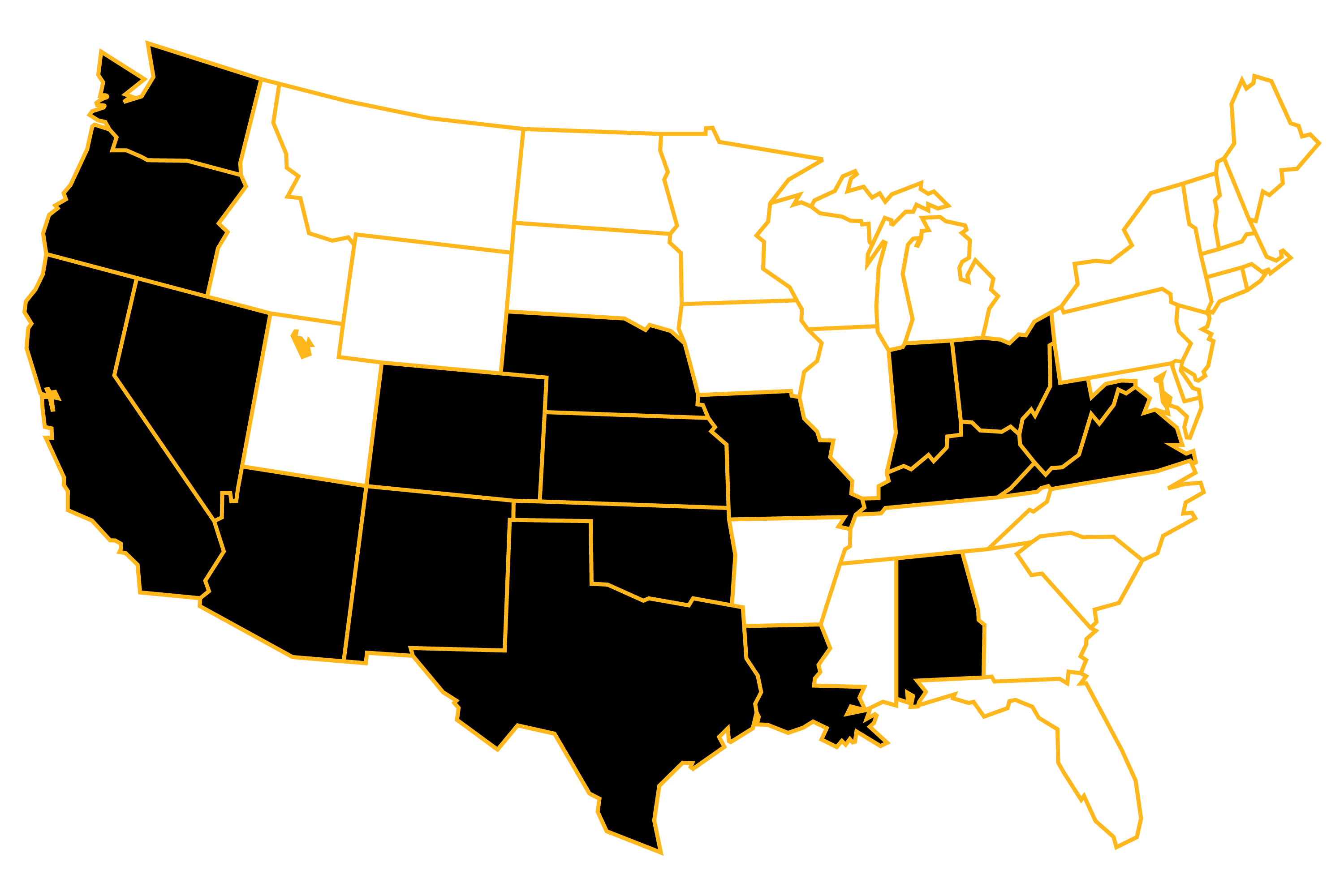 A map of the United States. The states where PGCC has projects are shown in black.