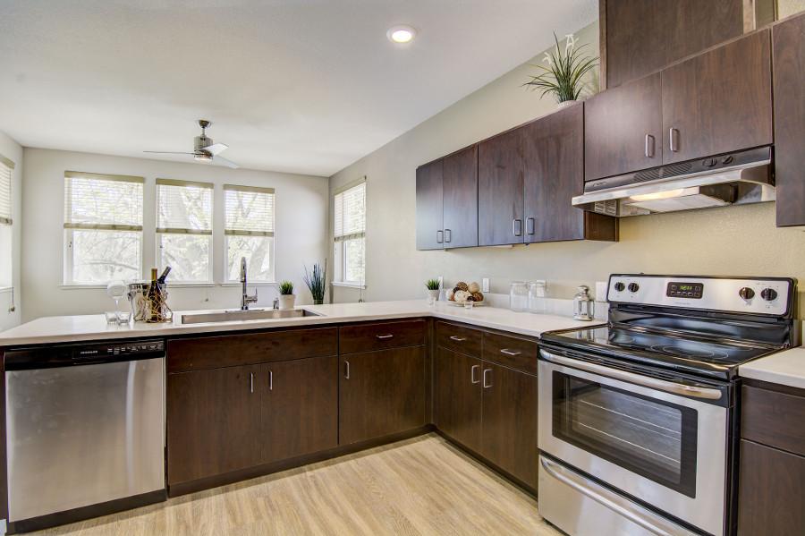 Kitchen inside a unit at 515 T