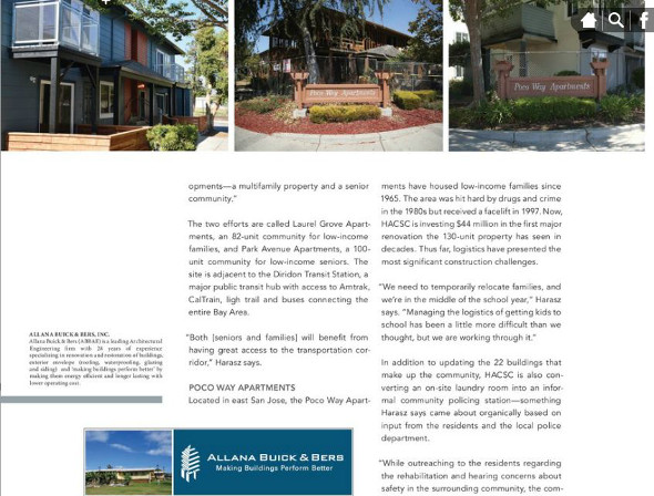 screenshot of Poco Way Apartments Magazine Article
