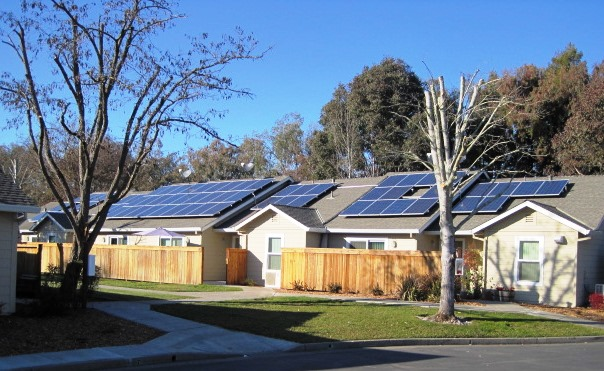 Solar panels on roof of Bell Manor apartment complex
