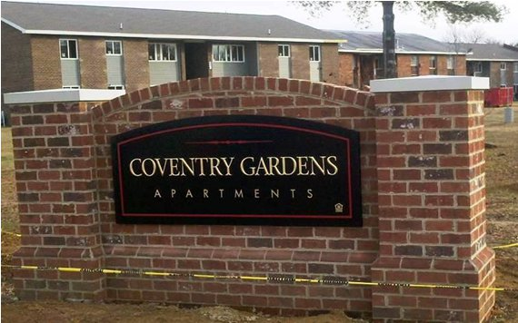 Brick monument sign for Coventry Gardens