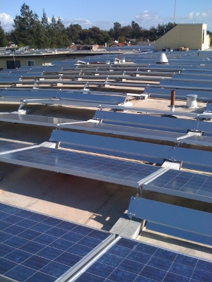 Large array of solar panels on top of Eden Lodge Apartments