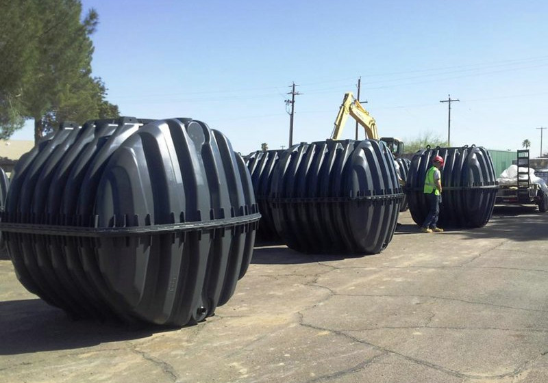 Water reclamation storage tanks ready to be installed at Kachina Apartments