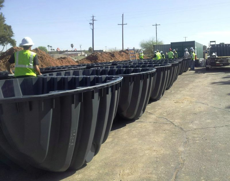 Water reclametion storage tanks ready to be assembled at Kachina Apartments
