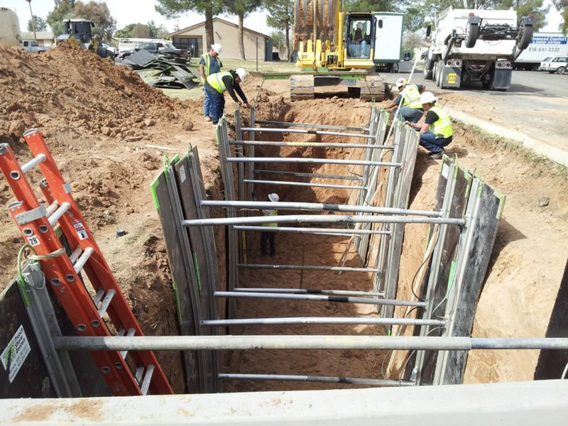 Trenches for water storage tanks at Kachina Apartments