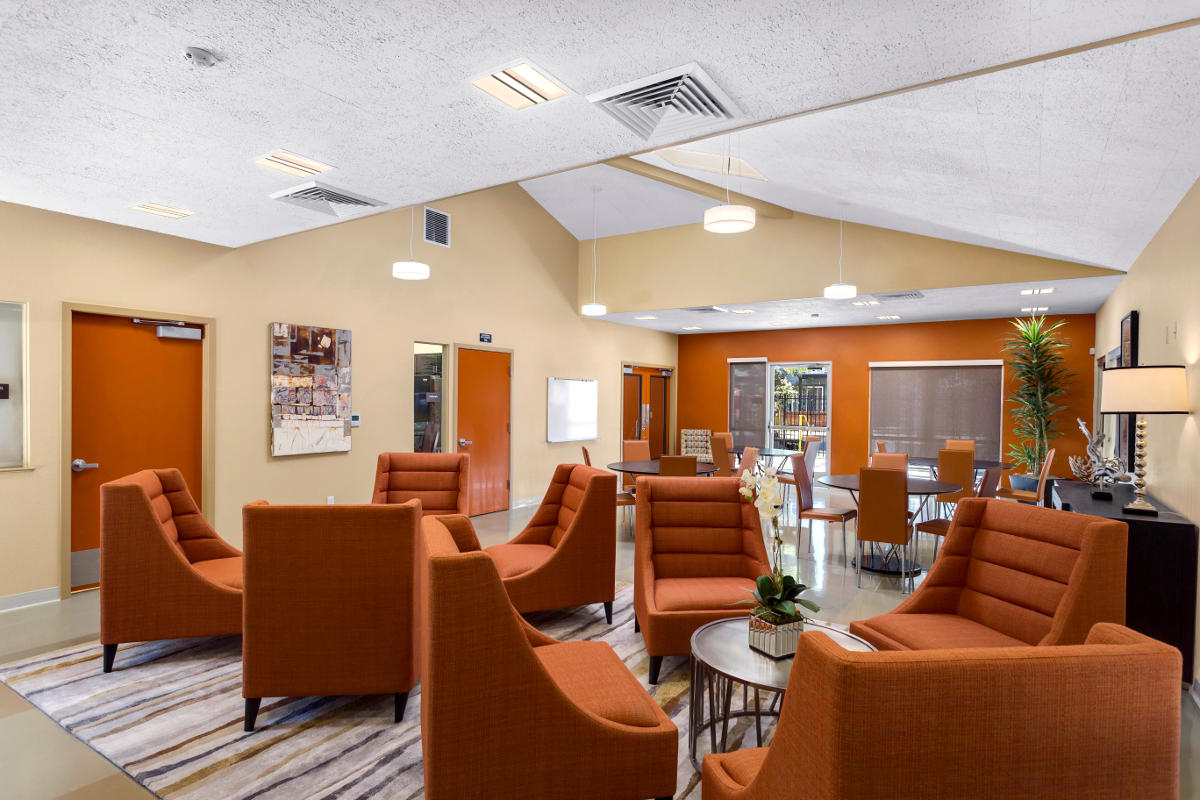Interior of community building at Poco Way Apartments