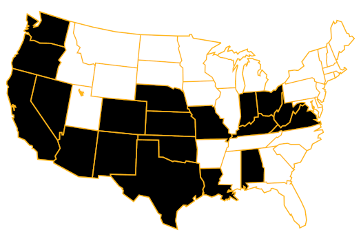 Map of the United States. States are shown in black where Precision General Commericial Contractors has completed projects